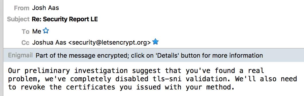 How I exploited ACME TLS-SNI-01 issuing Let's Encrypt SSL